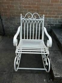 Vintage chic metal rocking chair