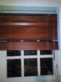 Dark real wood slatted walnut venetian window blind 80 cms wide x 150 cms drop