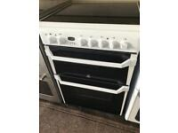 White indesit 60cm ceramic hob electric cooker grill & double fan assisted ovens with guarantee
