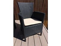 4 X weatherproof wicker chairs in box