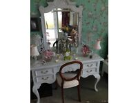 Antique Victorian Dressing table in pale grey