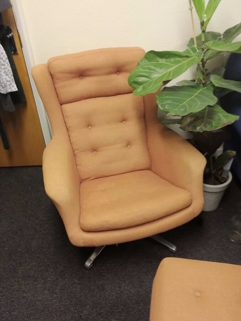Modern chair and footstool. Preloved