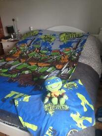 Teenage mutant ninja turtle bed cover and soft toy