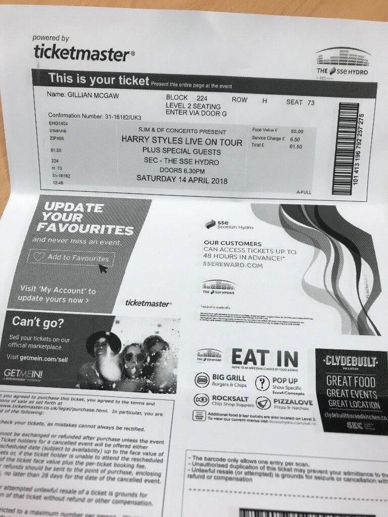 2 X Harry Styles Tickets For Sat 14 April Glasgow Hydro In