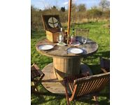 Wooden Cable drum reel Garden Table Upcycle Furniture / Mancave Retro