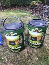 2X 5L woodland green Cuprinol fence care less mess paint