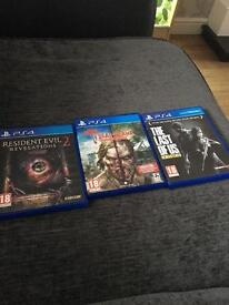 Ps4 games. The last of us, dead island and resident evil revelations