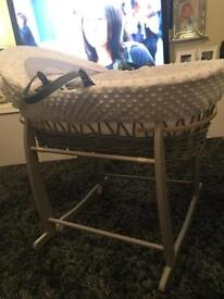Dimple white and grey wood Moses basket