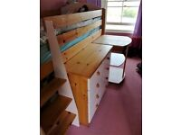 Children's cabin bed with steps, shelves, desk and drawers in pink
