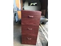 Three Drawer Walnut Wooden Filing Cabinet.