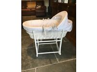 John Lewis Make a Wish Moses basket and stand in white - as new