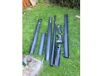 Plastic drain pipes for shed.