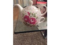 Floral Laura Ashley Teapot with teacup attached