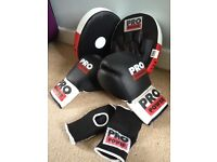 Boxing gloves, pads and wrist guards