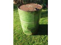 Empty Metal Oil Drum. Barrel. Incinerator.