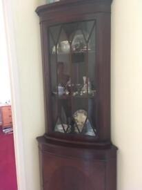 Corner Display Unit -Mahogany Veneer. 47cm deep x 180cm high