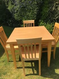 John Lewis good quality kitchen/dining table and six matching chairs