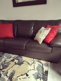 3 Seater Real Leather Dark Brown SofaBed - in Excellent Condition