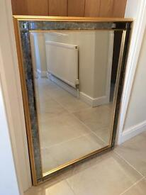 Large blue glass edged mirror - £40 ono