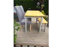 Table chairs & bench set