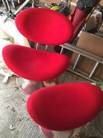 Bright Red Retro Funky Chair with Footstool