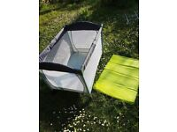 Grey blue travel cot soft side collapsable mesh playpen toddler