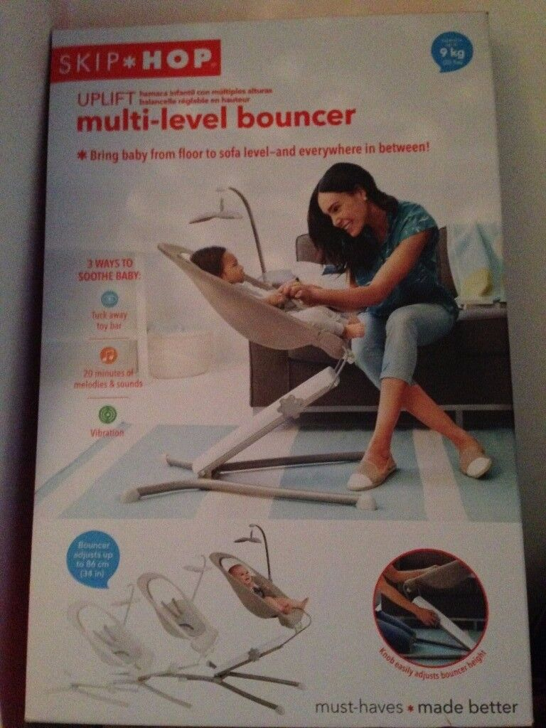 0ddbcf041ce Skip Hop Uplift Multi-Level Baby Bouncer Chair Height Adjustable Music  Vibrations RRP £130.00