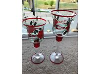 Set of two glass Christmas candle holders