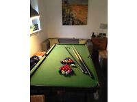 Fold away pool/snooker table with accessories