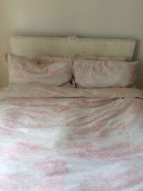 Double bed shabby chic white