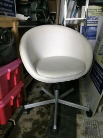 White faux leather swivel bucket chair, used but good condition.