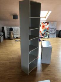 Grey half bookcase unit