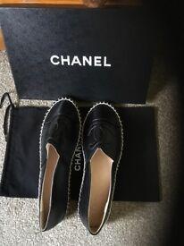 Chanel black leather espadrilles. Brand new in box. Genuine.