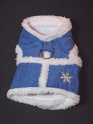 Big Lots Dog Canine Faux Blue Suede And White Fur Coat Snowflake Design Size S