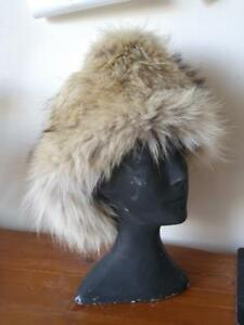 NEW Warm Real Fur Winter Hat COYOTE NEW shipped Custom-made XL 24 Upcycled Fur Trapper Mens Womens Oakville Earflaps ok
