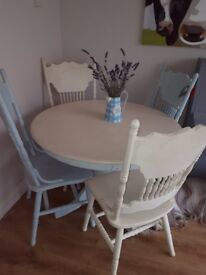 Shabby Chic dresser , Table and 4 chairs may need a re paint but in good condition
