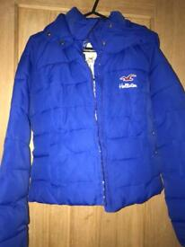 Hollister blue puffer coat