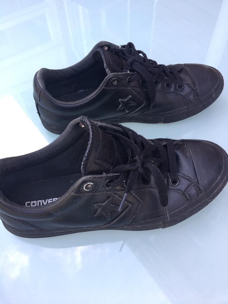 d117f0c12a4 Black leather converse size 3