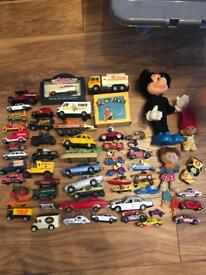Collection of old toys games and figures matchbox corgi