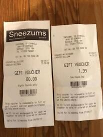 SNEEZHAMS OF BURY ST EDMUNDS GIFT VOUCHERS WORTH £82 CAMERA JEWELLERY WATCH FREE TO LOOK