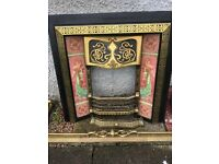 Cast Iron Insert and Wooden Fireplace