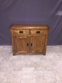 Solid Oak Small Sideboard Cabinet 2 Door 2 Drawer Storage Unit Bedroom £177 ONO