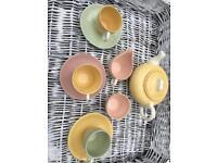 Pottery cups teapot pastel 1950s