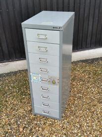 Bisley 9-drawer metal cabinet