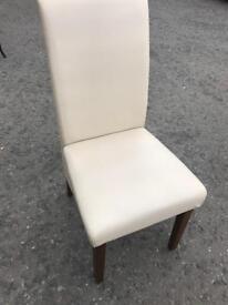 6 cream leather kitchen chairs