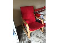 IKEA Poang rocking chair in red