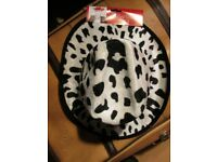 WHITE AND BLACK COW PRINT COWGIRL HAT NEW PARTY OR HEN DO HAVE MORE HATS FOR SALE