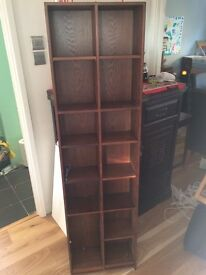 Wooden DVD storage unit, moveable shelves