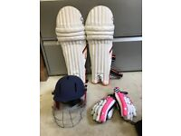 Boys (age 13-15) Cricket pads, gloves, helmets & bags.
