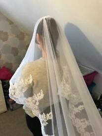 2 tier white lace veil